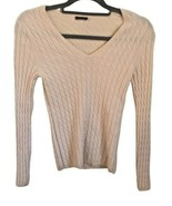 MAGASCHONI 100% CASHMERE Cable Knit Sweater Ivory V-neck Womens Small  - $27.69