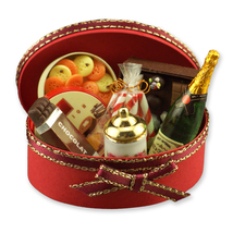 DOLLHOUSE Champagne Gift Set 1.409/8 Reutter Cookies Chocola Oval Case Miniature - $34.73