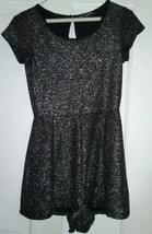 EUC One Clothing Womens Med Silver Cap Sleeve Cropped Romper - $9.40
