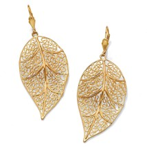 Filigree Leaf Drop Earrings in Yellow Gold Tone - $15.99