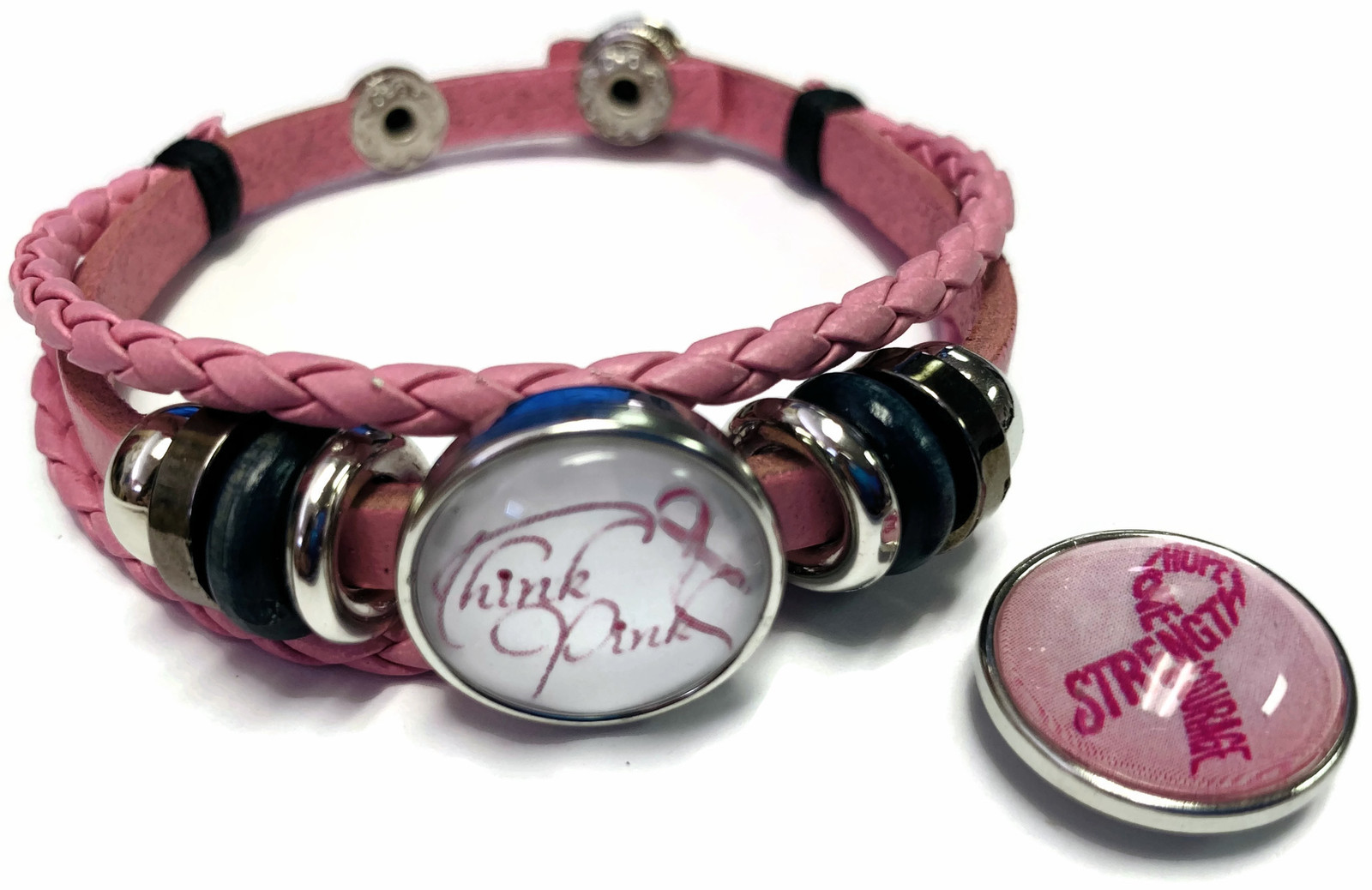 Think Pink Breast Cancer Snaps On Pink Leather Bracelet W/2 Snap Jewelry Charms