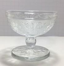 Vintage Indiana Glass Stem Footed Sherbet Floral Pressed Sandwich Glass - $7.03