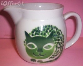 SCANDINAVIAN(FINNISH) MODERN-ARABIA GREEN CAT (KISSA) CREAMER / PITCHER - $52.45