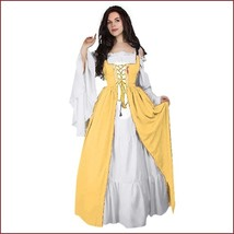 Medieval Damsel Yellow Lace Up Kittle Skirt Long Flare Sleeve Off Should... - $79.95