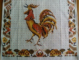 UNUSED PURE LINEN KITCHEN TOWEL ~ PRAIRIE COUNTRY FARMHOUSE - ROOSTERS - $7.92