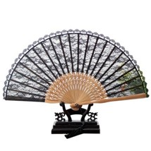 Double-layer Lace Folding Fan brown bone black surface 22*40cm - $10.44