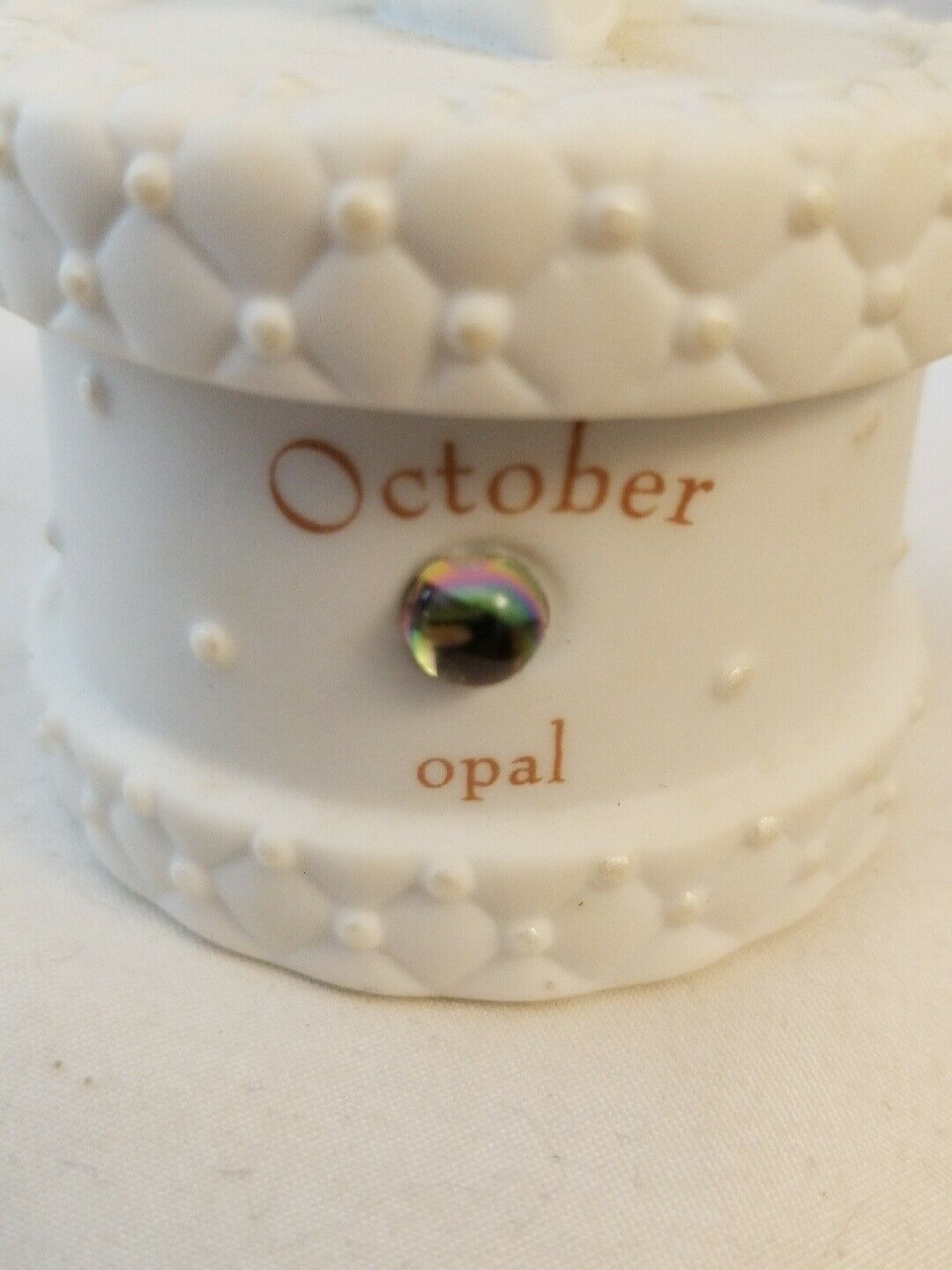 OCTOBER Birthstone Baby KEEPSAKE BOX porcelain RUSS Bear Angel image 3