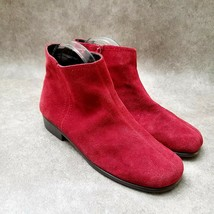 Aerosoles Womens Duble Trouble Sz 9 M Red Suede Ankle Boots Booties - $29.99