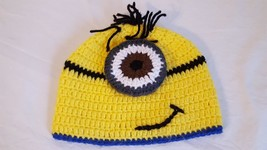 """HAND CROCHETED DISPICABLE ME MINON ADULT/TWEEN BEANIE HAT WINTER 19-21""""H... - $4.94"""