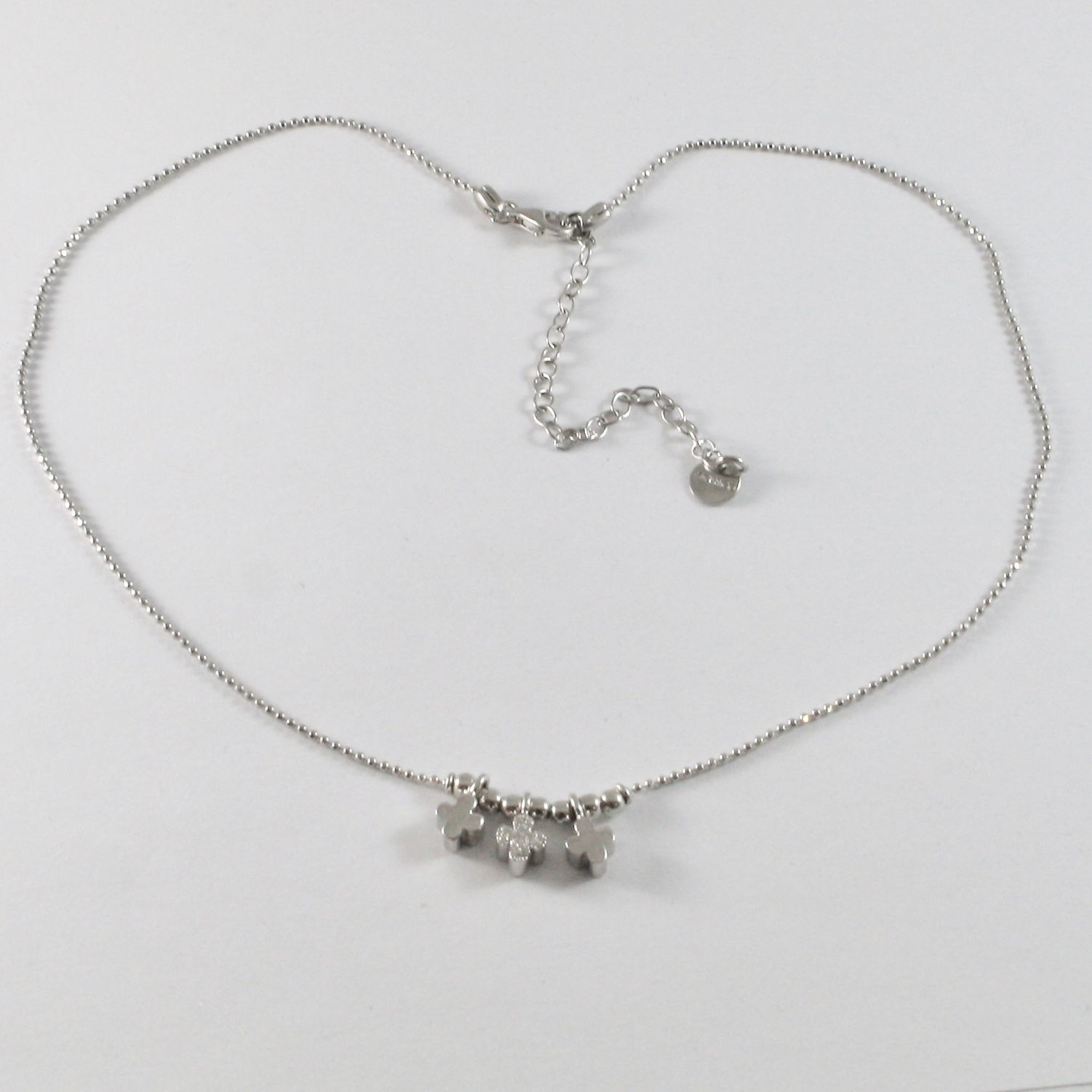 925 STERLING SILVER NECKLACE JACK&CO WITH FOUR-LEAF CLOVER WITH WHITE ZIRCONIA