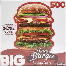 "Big Shaped Jigsaw Puzzle 500 Pieces 27""X12""-Juicy Hamburger - $21.30"