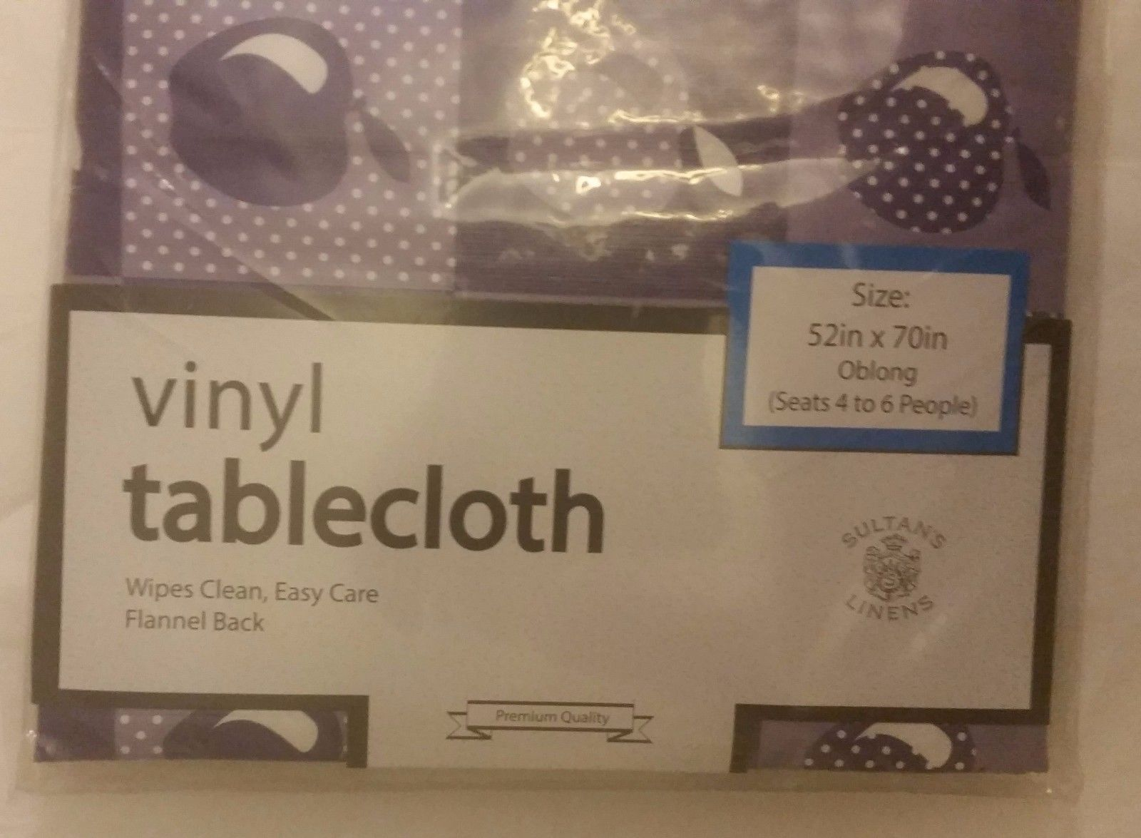 """FLANNEL BACK VINYL TABLECLOTH 52""""x70"""", OBLONG (4-6 ppl), APPLES on PURPLE, BY SL"""