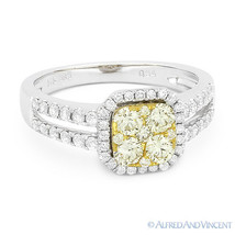 0.94 ct Round Cut Yellow Diamond Pave Right-Hand Ring in 2-Tone 14k Whit... - $1,825.00