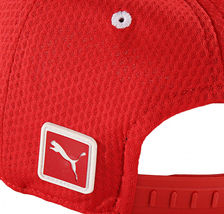 Puma Ferrari Red Logo Hat Rosso Corsa Wide Brim Strap Back Baseball Cap image 4