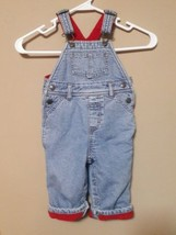 OLD NAVY BABY red FLEECE lined blue jean carpenter OVERALLS size M  6-12... - $14.01