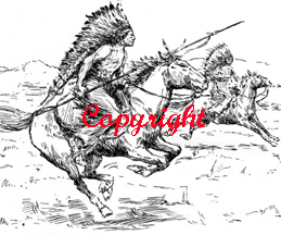 Indians on Warpath New Mounted Rubber Stamp