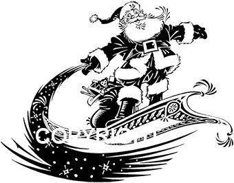 Santa Riding Magic Carpet New MOUNTED RUBBER STAMP