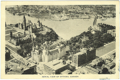 Vintage Postcard - Aerial View of Ottawa Canada