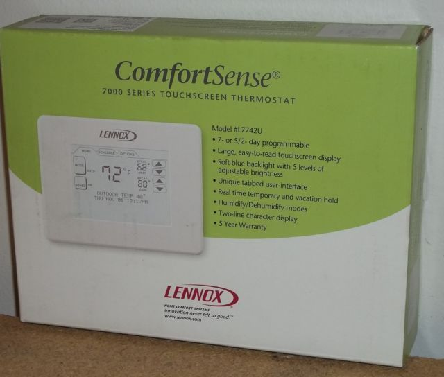 lennox thermostat. lennox y2081 comfortsense 7000 touchscreen thermostat model l7742u - $399.95 o