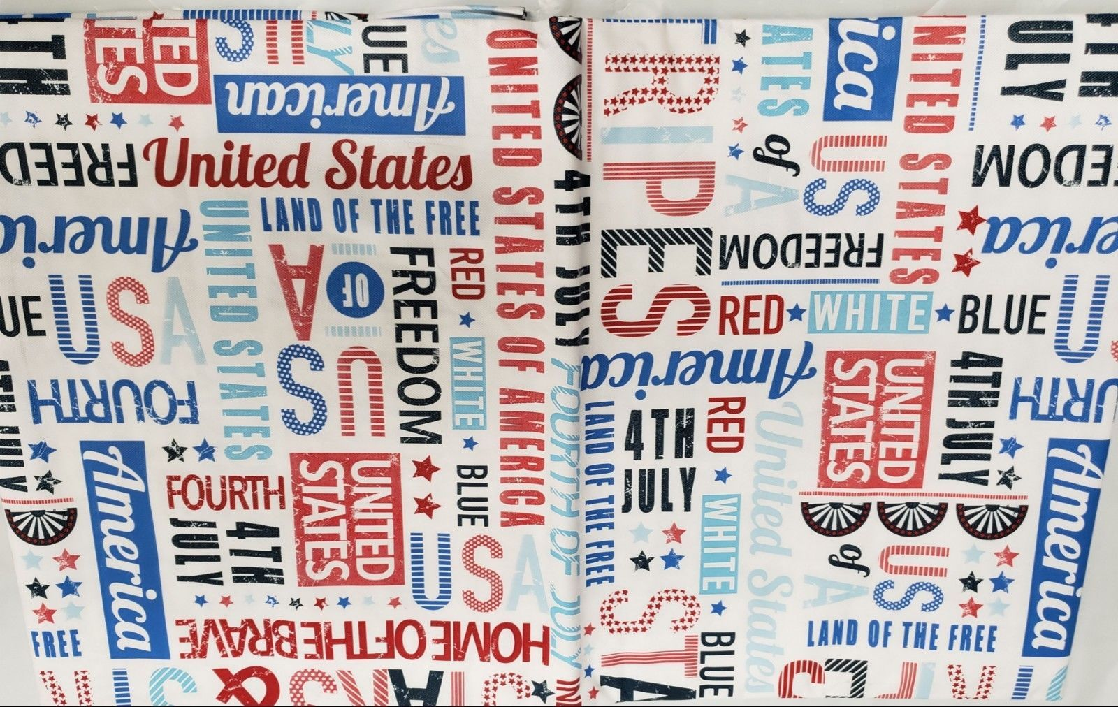 "Primary image for FLANNEL BACK VINYL TABLECLOTH 52""x70"" (4-6 ppl) PATRIOTIC, USA,AMERICAN WORDS,AP"