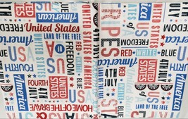 "Flannel Back Vinyl Tablecloth 52""x70"" (4-6 Ppl) Patriotic, Usa,American Words,Ap - $15.83"