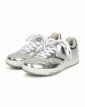 Qupid Surge-01 Silver Met Leatherette Glitter Lace Up Flat Sneaker, US 7.5 - $24.74