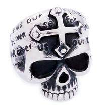 Stainless Steel Cross Head Carved Words Skull Men Biker Ring US Size 15 - $12.99