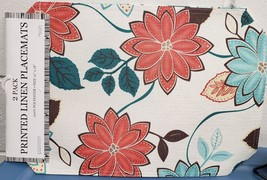 """Set Of 2 Fabric Linen Placemats 12"""" X 18"""", Multicolor Flowers & Leaves By Bh - $9.89"""