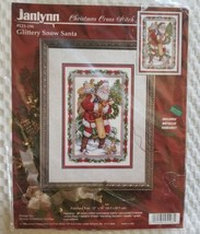 Janlynn Christmas Cross Stitch Glittery Snow Santa #125-196 1996 NEW - $35.00