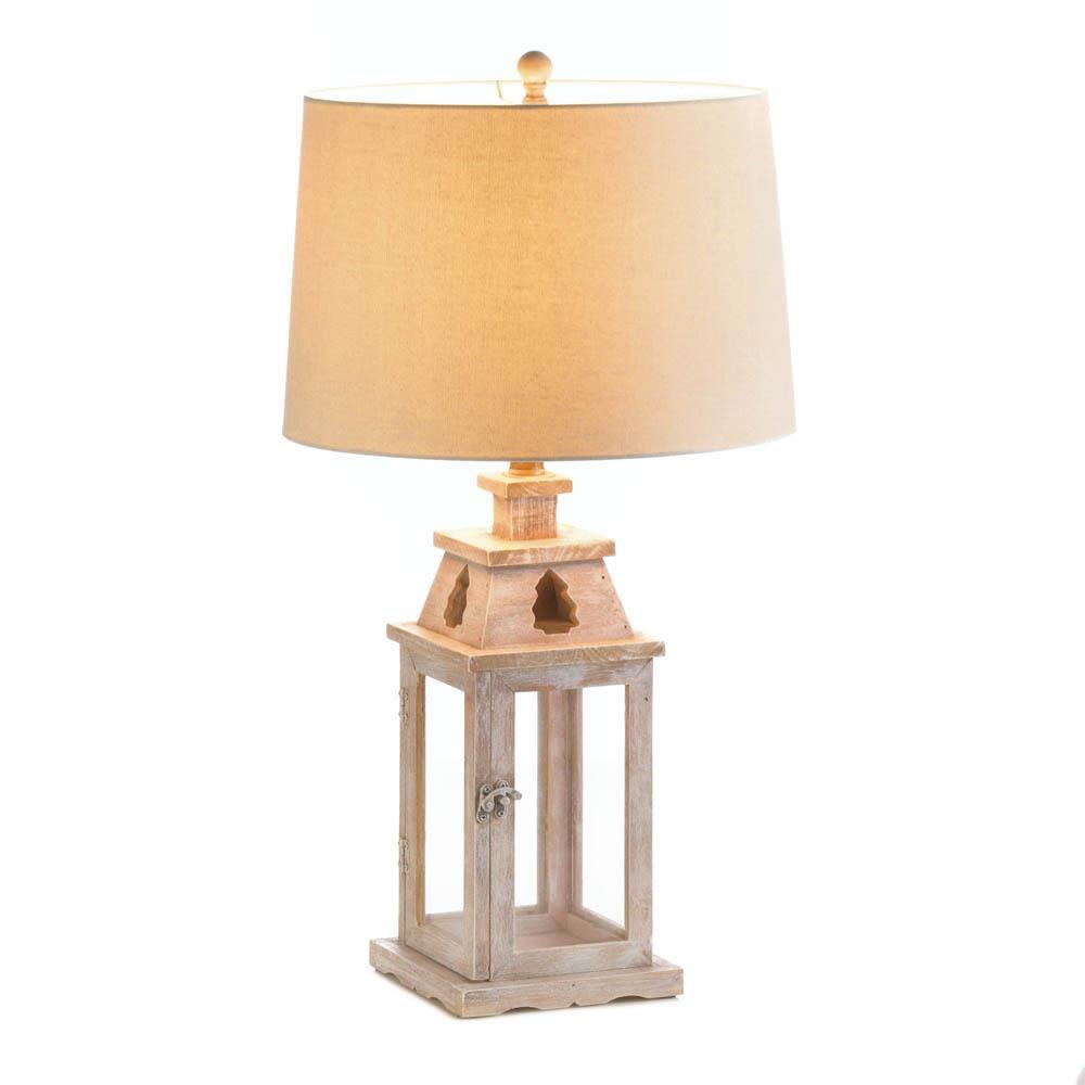 LANTERN TABLE LAMP Rustic Brushed White Wood