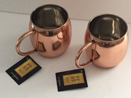 2x HAMMERED ~ MOSCOW MULE ~  GENUINE COPPER PLATED MUG - $24.18