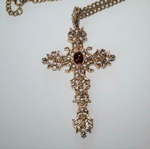 Avon Vintage Gold Tone Cross with Red Cabochon Necklace  J321 - $15.00