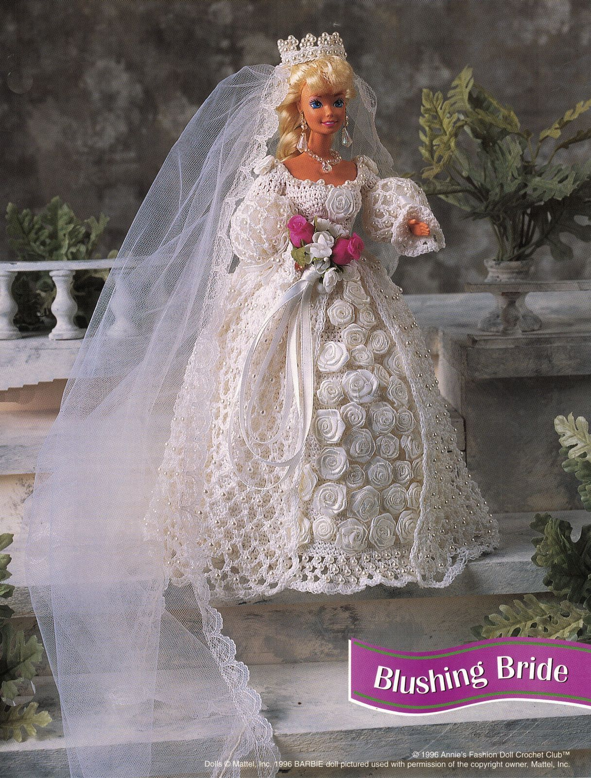 "Primary image for 4X Barbie 11-1/2"" Doll Victorian Bride Wedding Gown Cake Veil Crochet Pattern"