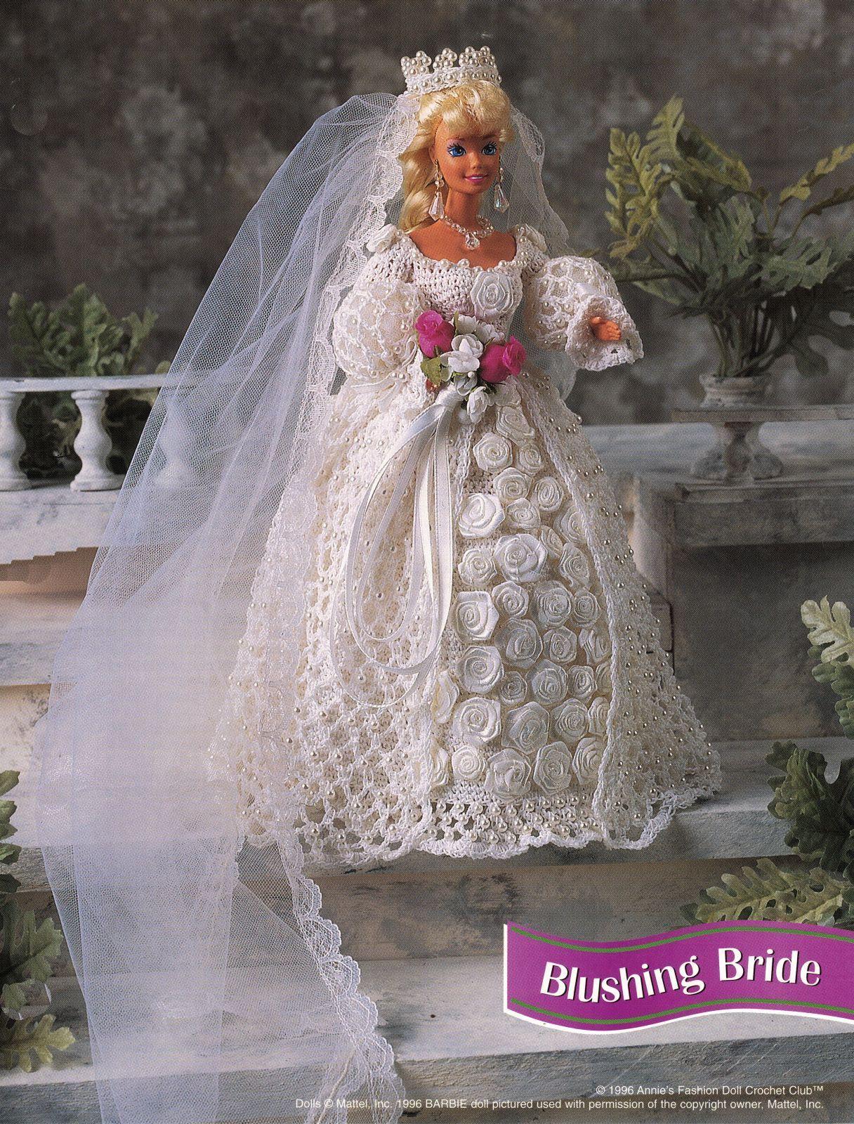 "4X Barbie 11-1/2"" Doll Victorian Bride Wedding Gown Cake Veil Crochet Pattern"