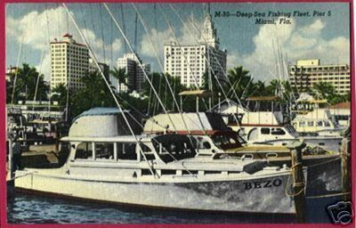 Primary image for MIAMI FLORIDA Fishing Fleet Pier 5 BEZO Ship FL Linen