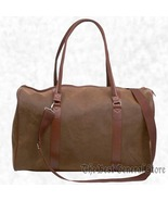 """21"""" Brown Faux Leather Tote Lined Travel Gear Bag Duffle Gym Luggage Car... - $19.95"""