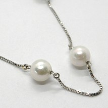 18K WHITE GOLD NECKLACE, VENETIAN CHAIN ALTERNATE WITH AKOYA WHITE PEARLS 7.5 MM image 2
