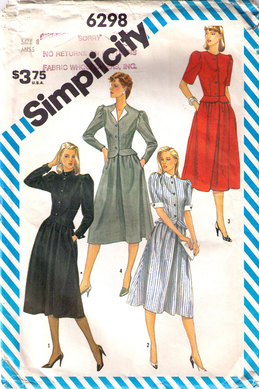 1983 SUIT with PEPLUM Pattern 6298-s Size 8 - UNCUT Simplicity New Look