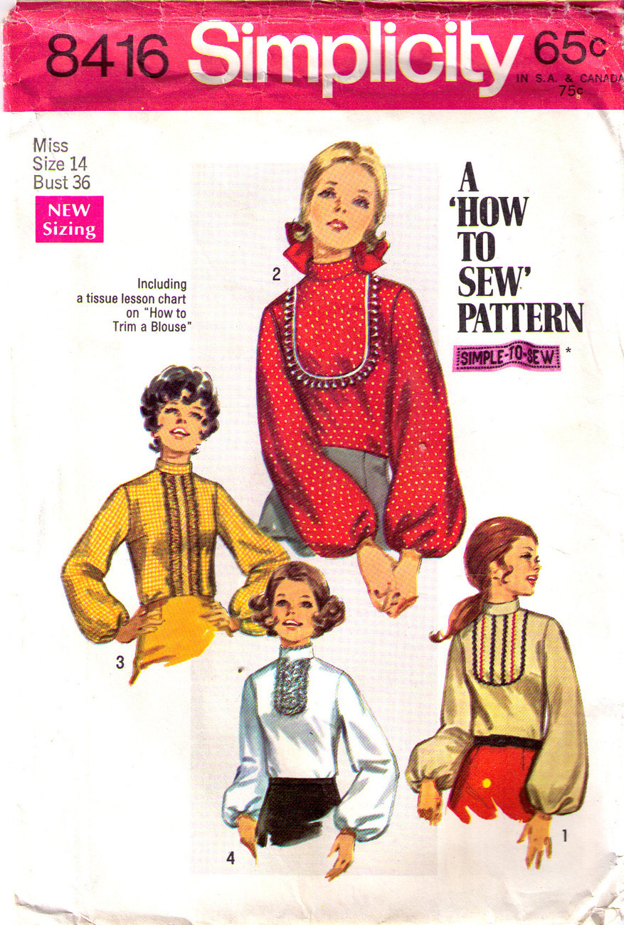 1969 BLOUSES Pattern 8416-s Size 14 - UNCUT Simplicity New Look
