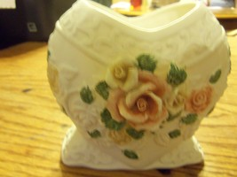 ceramic  heart  shaped  planter  with  roses - $20.00