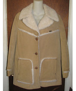 Vintage Lee Storm Rider Suede Winter Coat Sherpa Lined Womens Size 12  - $95.00