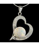 Alducchi White Rainbow Fire Lab Opal - CZ .925 Silver Heart Pendant neck... - $60.09