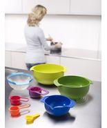 9 pc Joseph Joseph Set Mixing Bowls Measuring Spoons Sieve Stainless Ste... - $65.99