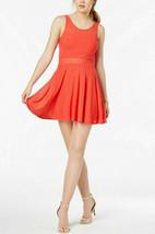 Material Girl Juniors' Illusion Fit & Flare Dress, Hibiscus, M - $24.74