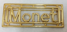 Brooch Pin MONET Letters Brand Spelled Out Rectangle Gold Tone Metal Vin... - $9.89