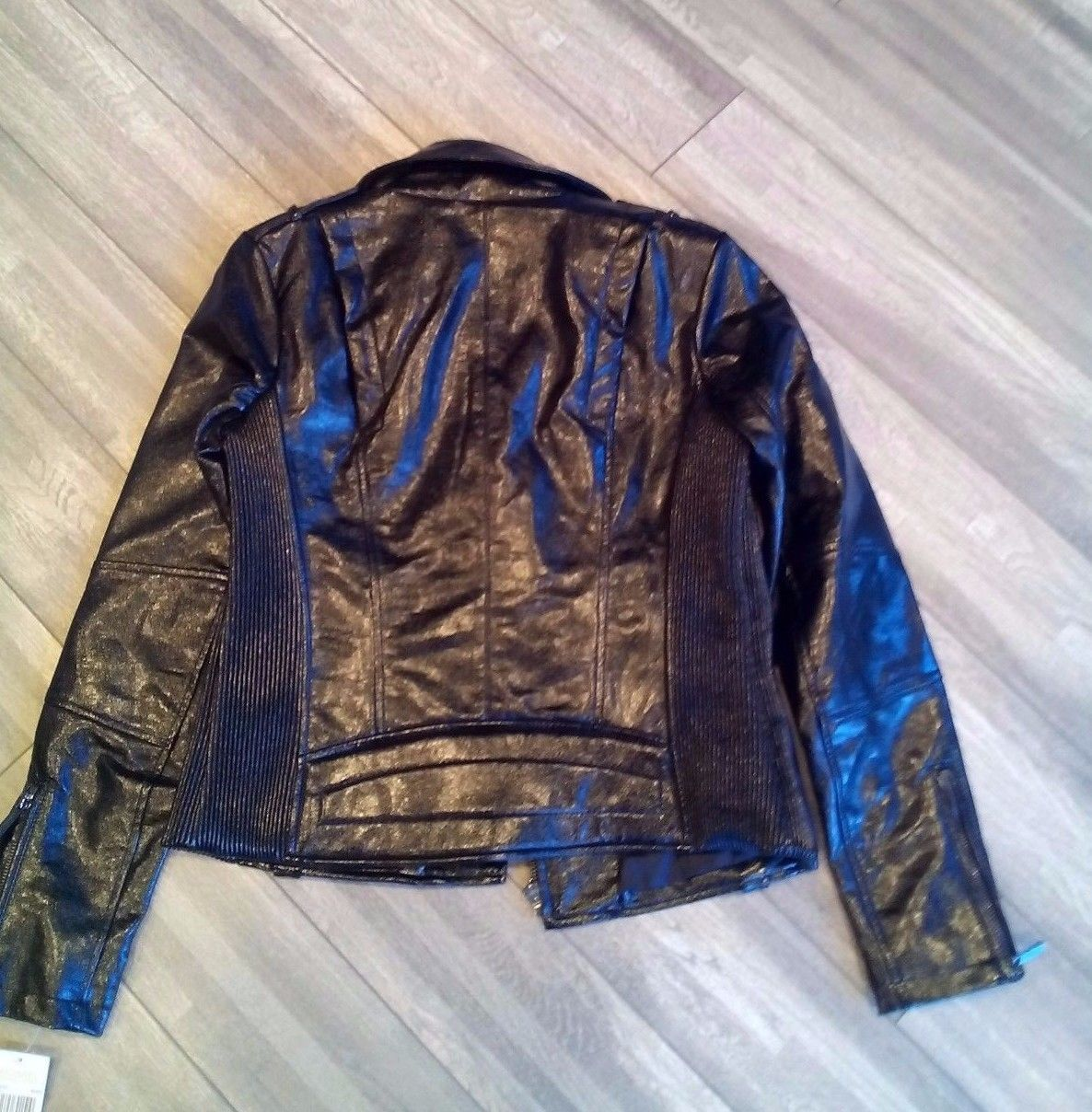 NEW ! NWT MICHAEL KORS Faux Leather Moto Jacket in Patent Glossy Black Size M