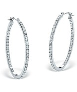 Diamond Fascination Hoops Platinum over .925 Sterling Silver - $79.82