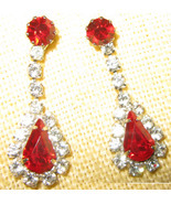 Ruby and Clear Faceted Glass Teardrop Dangle Ea... - $7.96
