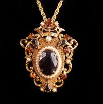 Victorian crown necklace - pearl and rhinestones crown - Vintage Florenz... - $125.00