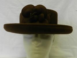 Wool Church Bucket Hat USA Vintage Chocolate Brown Rose Bud Flower Floral - $58.17
